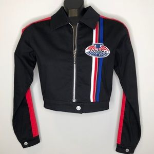 NWT DICKIES black cropped logo patch racing jacket